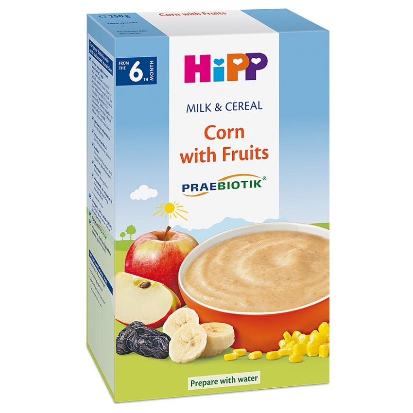 Bột ăn dặm HiPP hoa quả sữa bắp 250g