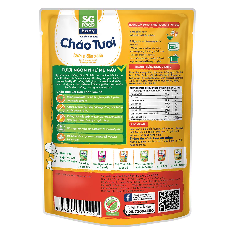 Thành phần dinh dưỡng cháo Sài Gòn Food vị lươn đậu xanh 10M+ 240g