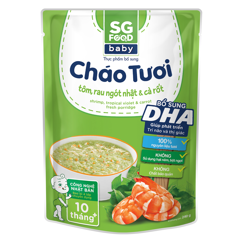 Cháo tươi Sài Gòn Food Baby vị tôm, rau ngót nhật và cà rốt 10M+