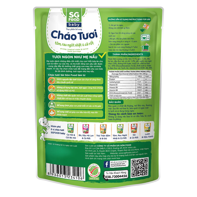 Thành phần dinh dưỡng cháo tươi Sài Gòn Food Baby