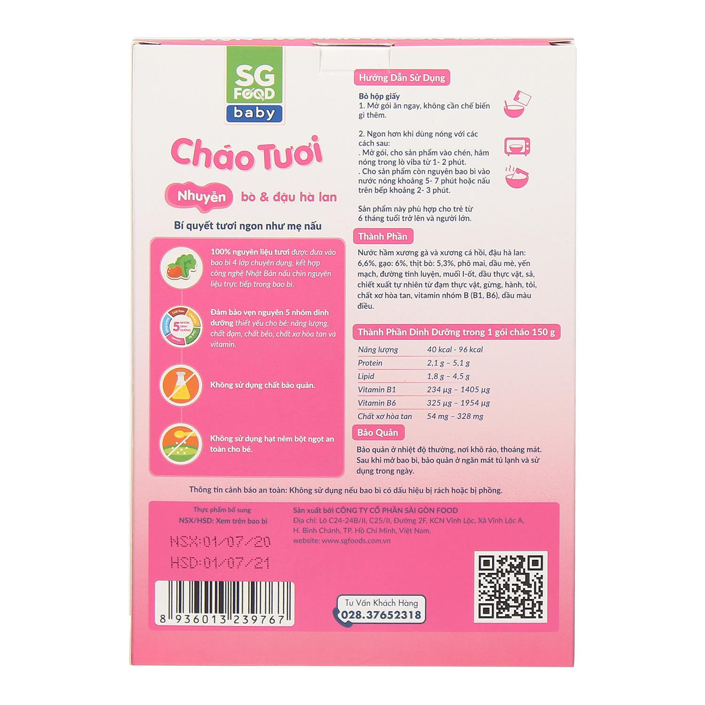 Thông tin dinh dưỡng cháo tươi Sài Gòn Food vị bò đậu hà lan