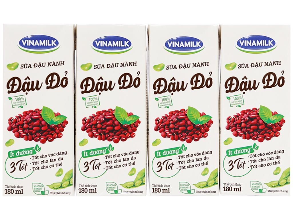 Sữa đậu nành Vinamilk đậu đỏ 4*180ml cho bé trên 4 tuổi