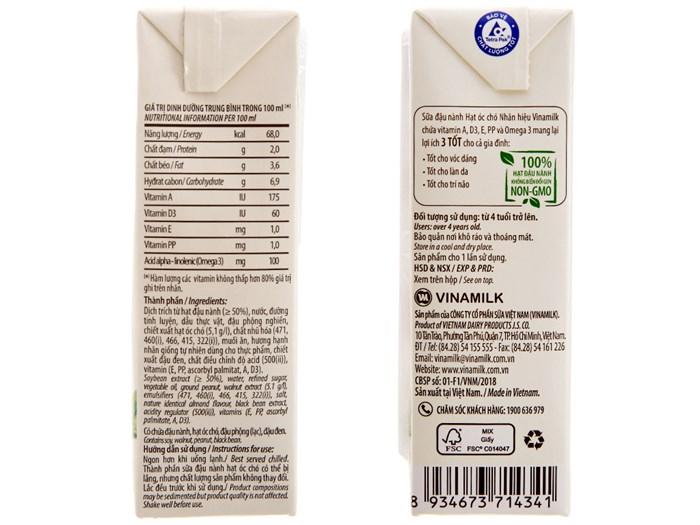 Sữa đậu nành Vinamilk hạt óc chó 4*180ml cho bé trên 4 tuổi