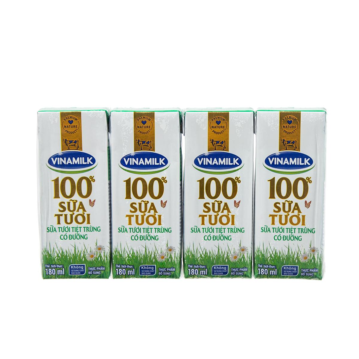 Sữa tươi tiệt trùng có đường Vinamilk 4*180ml
