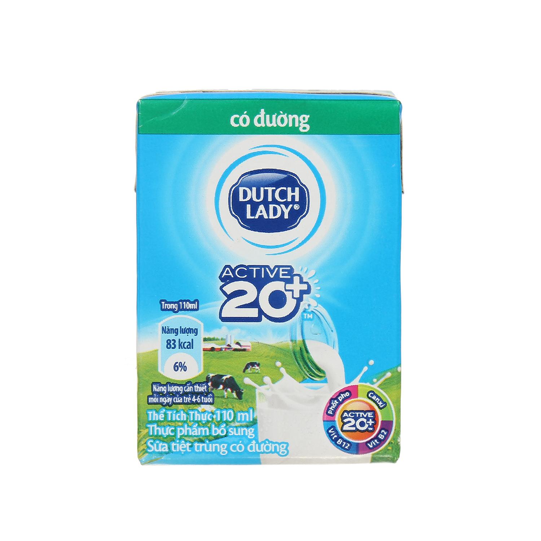 Sữa tươi tiệt trùng có đường Active 20+ Dutch Lady 110ml cho bé trên 1 tuổi