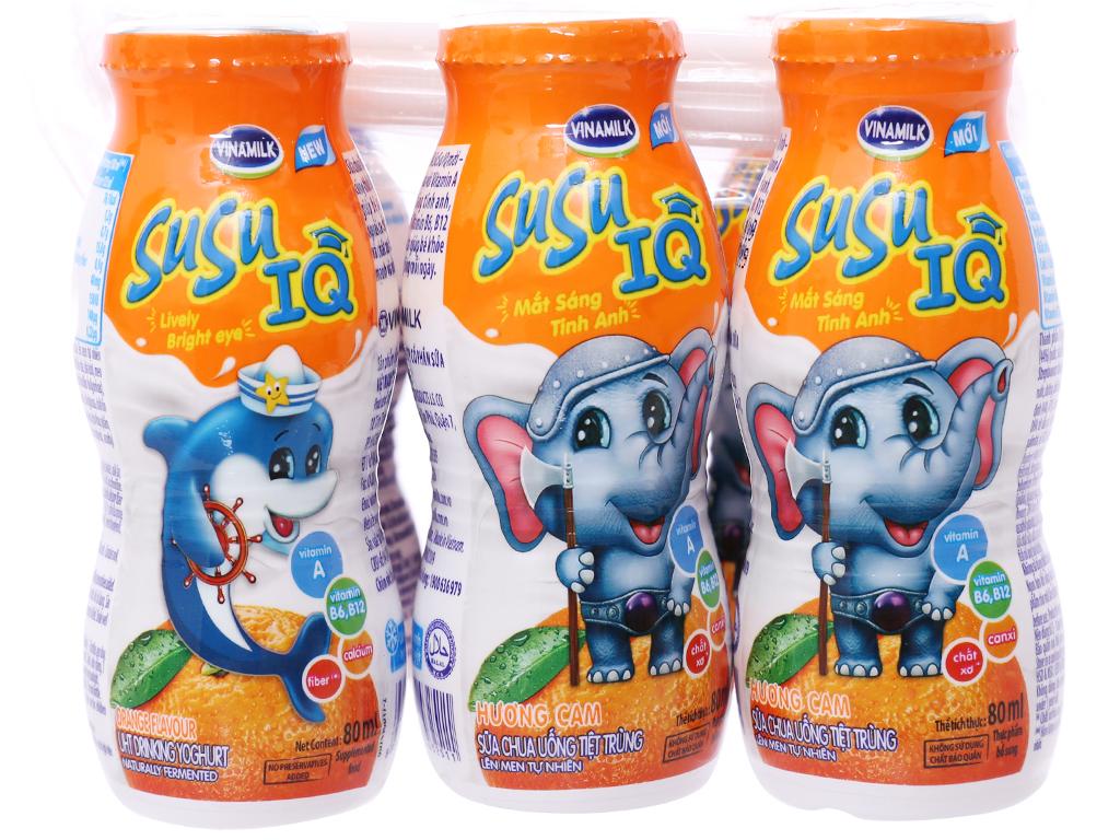 Sữa chua uống Susu hương cam (6*80ml) cho bé