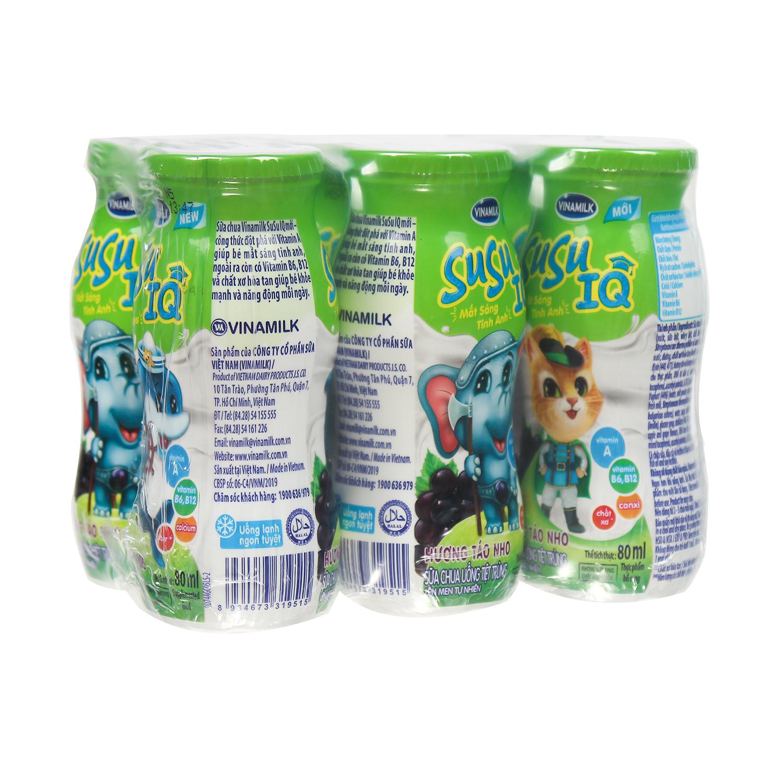 Sữa chua uống Susu hương táo nho (6*80ml) cho bé trên 8 tháng tuổi