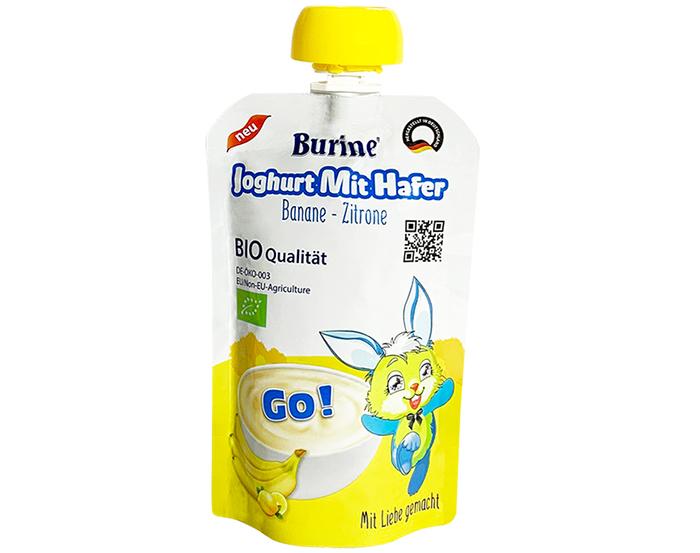 Sữa chua yến mạch Burine Organic vị chuối chanh 95gr cho bé trên 6 tháng tuổi