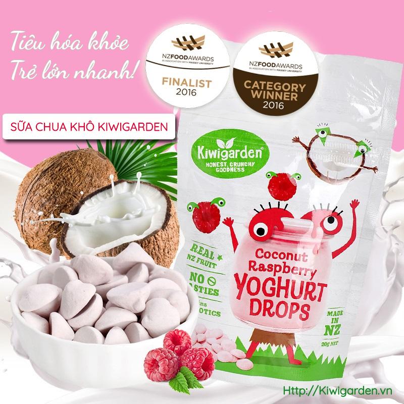 Sữachua khô Kiwigarden - vị dừa và quả mâm xôi 20g cho bé