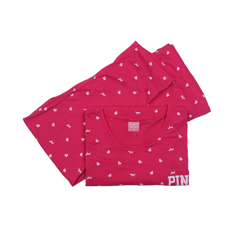 Bộ quần áo sau sinh cho mẹ cotton cổ tròn Pink màu sắc tươi tắn