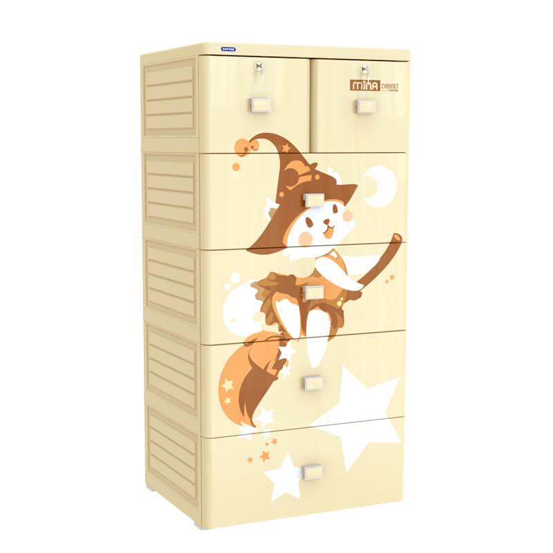 chất liệu tủ nhựa Mina Duy Tân 5 tầng 6 ngăn (màu kem)