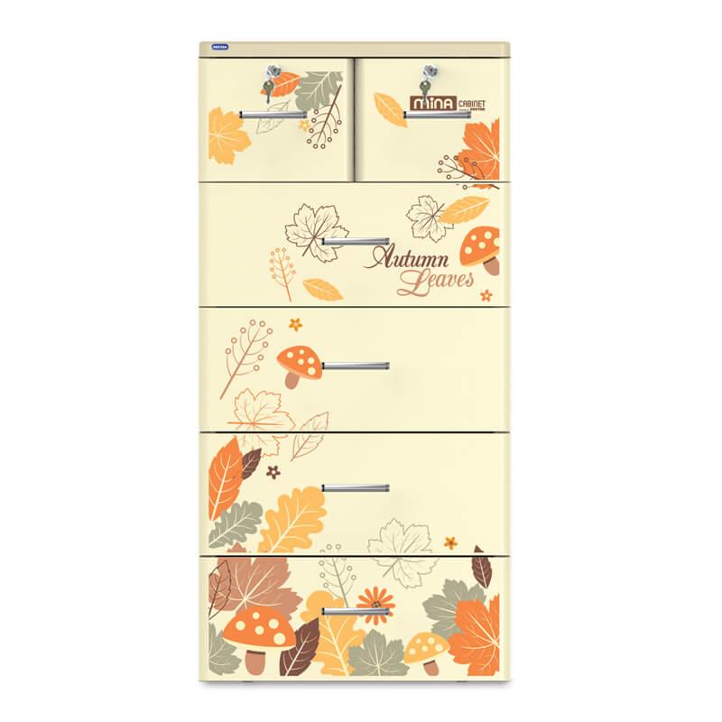 Tủ nhựa cho bé Mina Duy Tân 5 tầng 6 ngăn (màu kem)