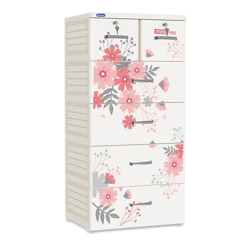 Tủ nhựa cho bé Mina Duy Tân 5 tầng 6 ngăn (màu xám)