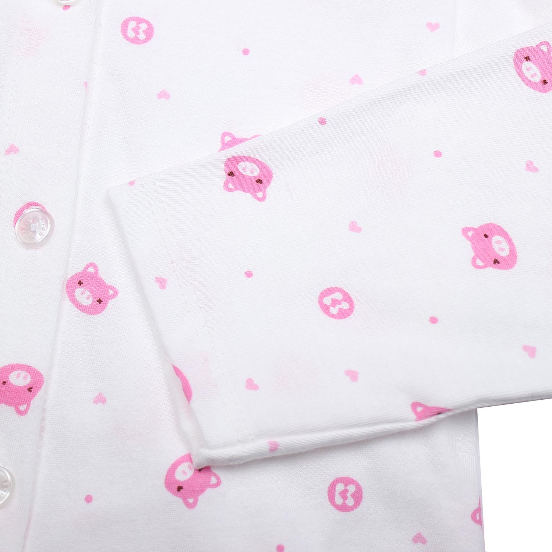 Áo sơ sinh dài tay KidsPlaza in hình chú heo (Trắng hồng) chất liệu an toàn