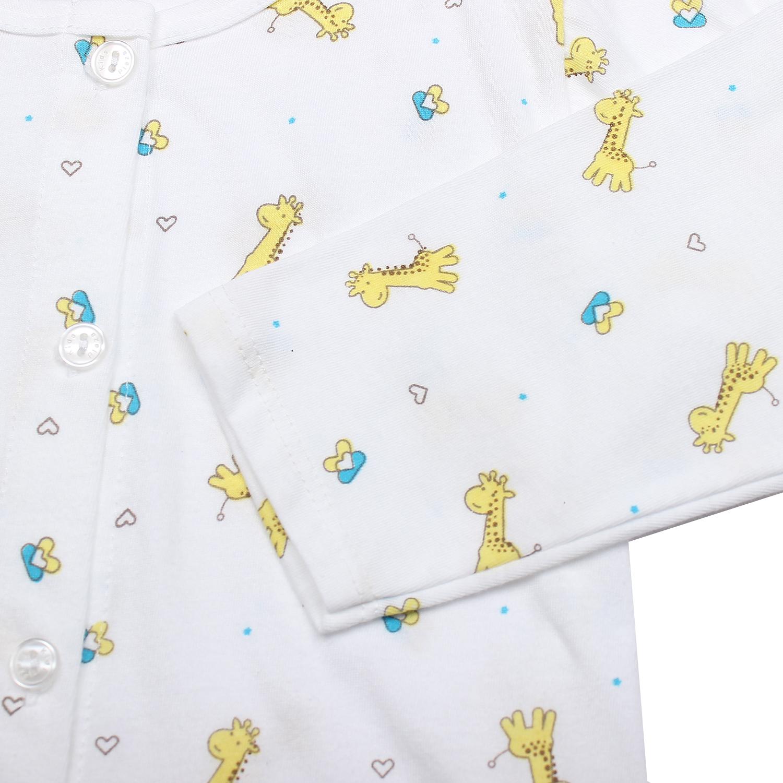 Áo sơ sinh dài tay KidsPlaza in hình chú hươu cao cổ (Trắng vàng) chất liệu an toàn