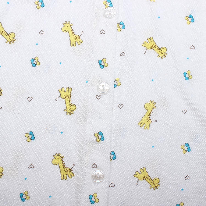 Áo sơ sinh dài tay KidsPlaza in hình chú hươu cao cổ (Trắng vàng) ngộ nghĩnh, đáng yêu