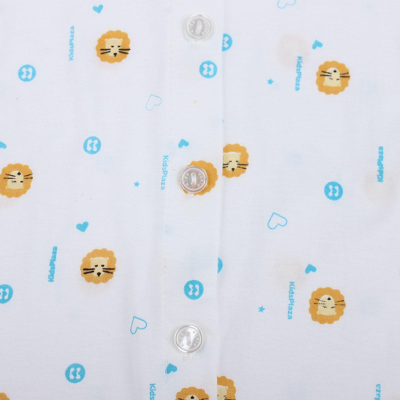Áo sơ sinh dài tay KidsPlaza in hình chú hươu cao cổ (Trắng vàng) cúc cài giữa tiện lợi