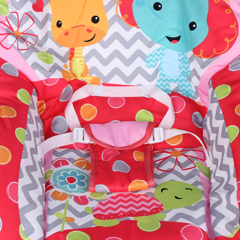 Tựa lựng và tấm lót ghế rung Kiza Sweet Lullaby 889 làm bằng chất liệu vải mềm mại, thấm hút mồ hôi tốt