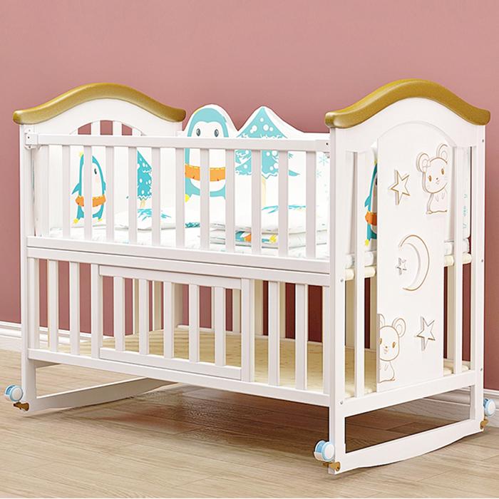 Giường cũi gỗ cho bé KidsPlaza 4in1 White