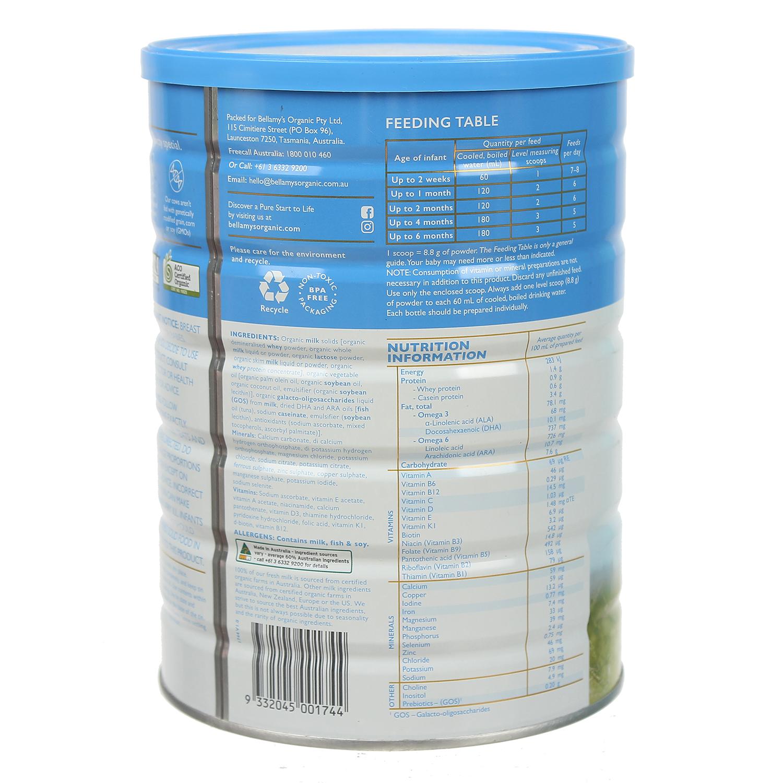 Thành phần sữa Bellamy's Organic S1 900g