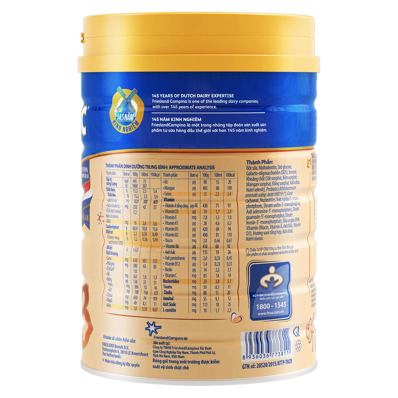 Thành phần dinh dưỡng có trong sữa Frisolac Gold 3 400g