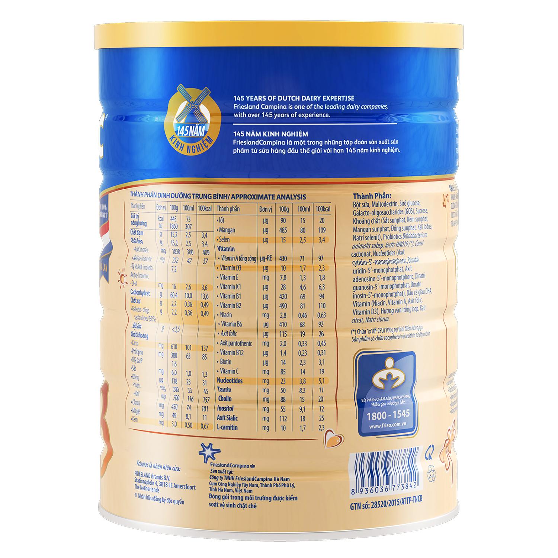 Thành phần sữa Frisolac Gold 3 1.5kg cho bé 1-2 tuổi
