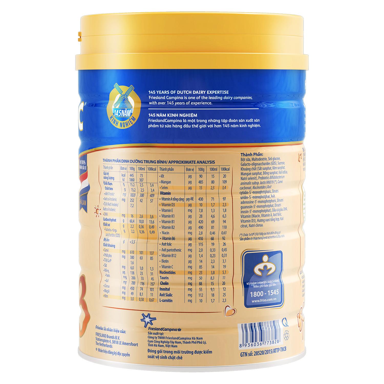 Thành phần sữa frisolac gold 3 900g