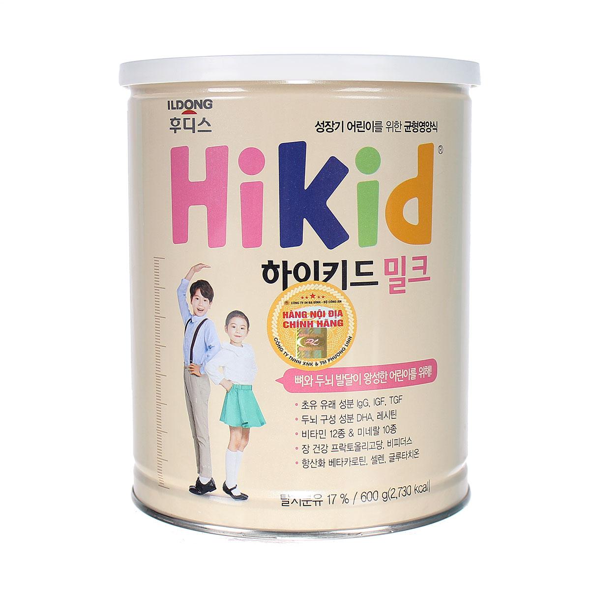 Sữa bò Hikid vị Vani 600g nhập khẩu nguyên lon từ Hàn Quốc