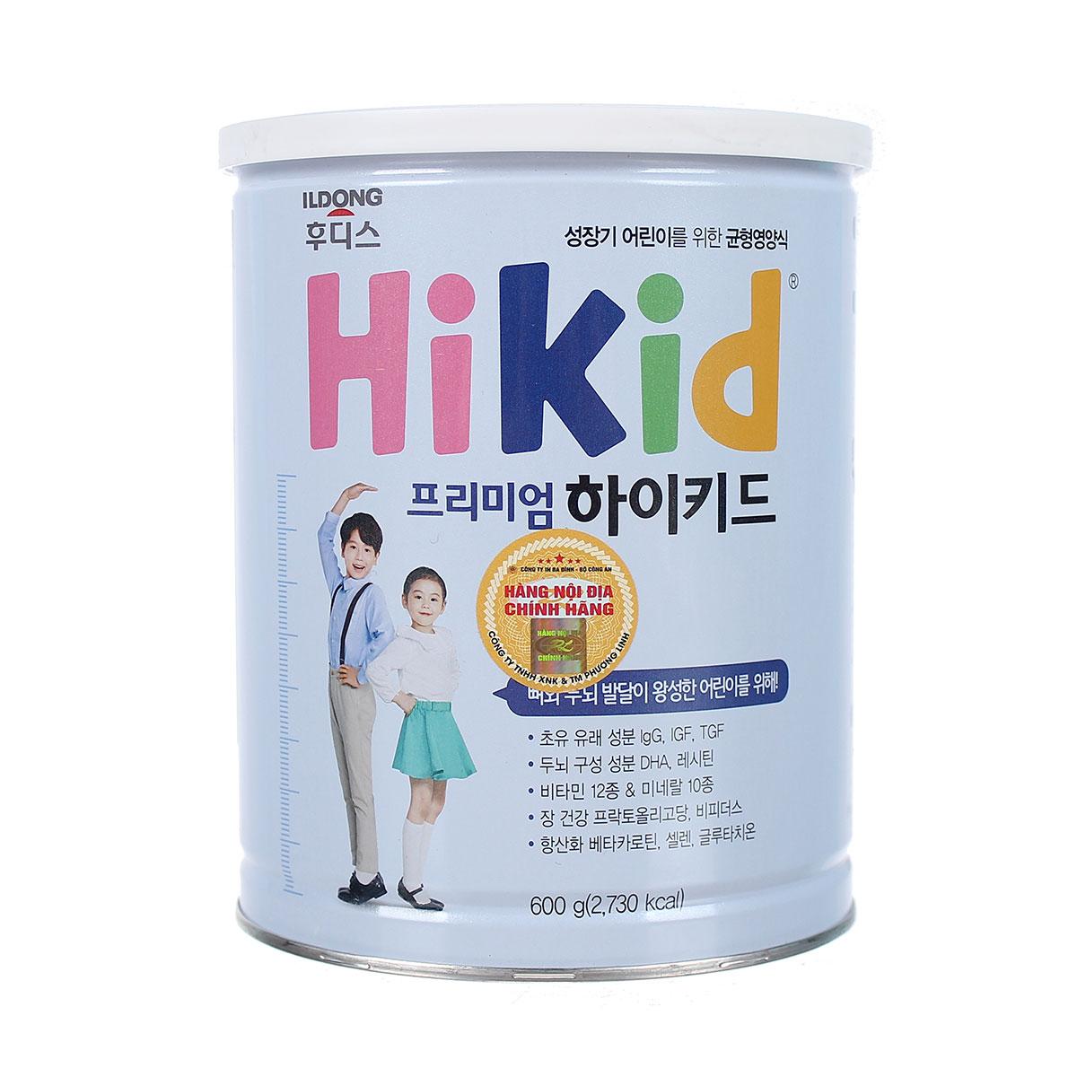 Sữa Hikid Premium hộp 600g Hàn Quốc