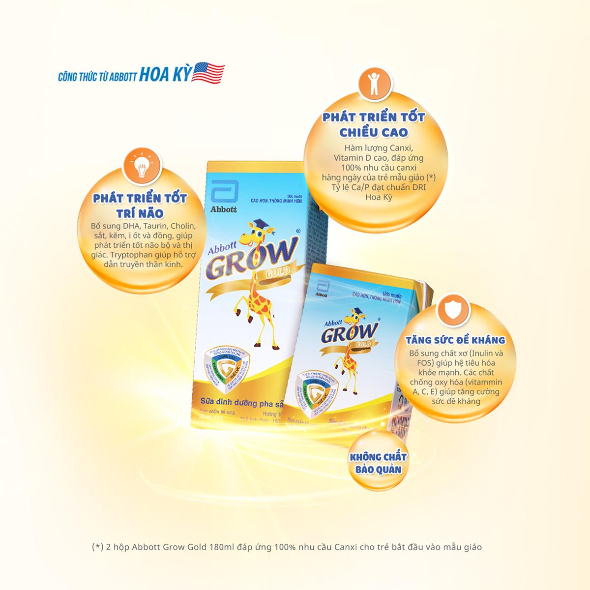 Sữa nước Abbott Grow Gold hương vani (4x180ml) cho bé từ 2 - 6 tuổi