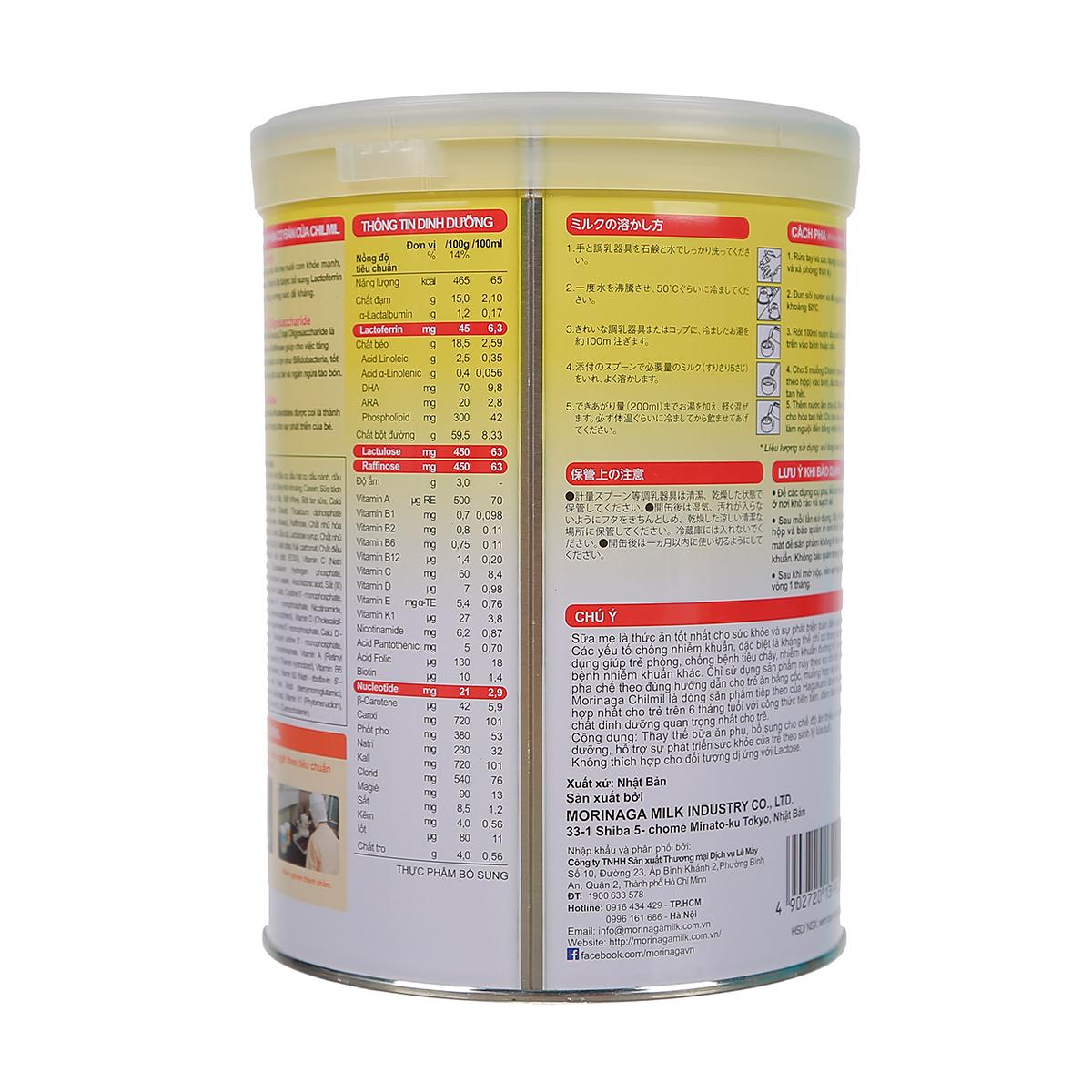 Thành phần Sữa Morinaga Chilmil số 2 850g