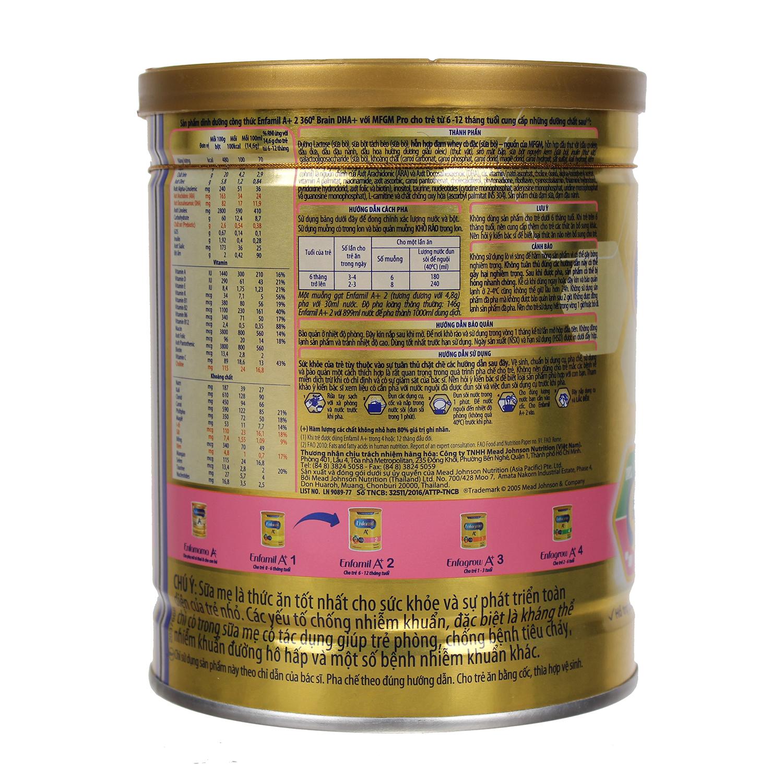 Thành phần sữa Enfa A+ số 2 400g