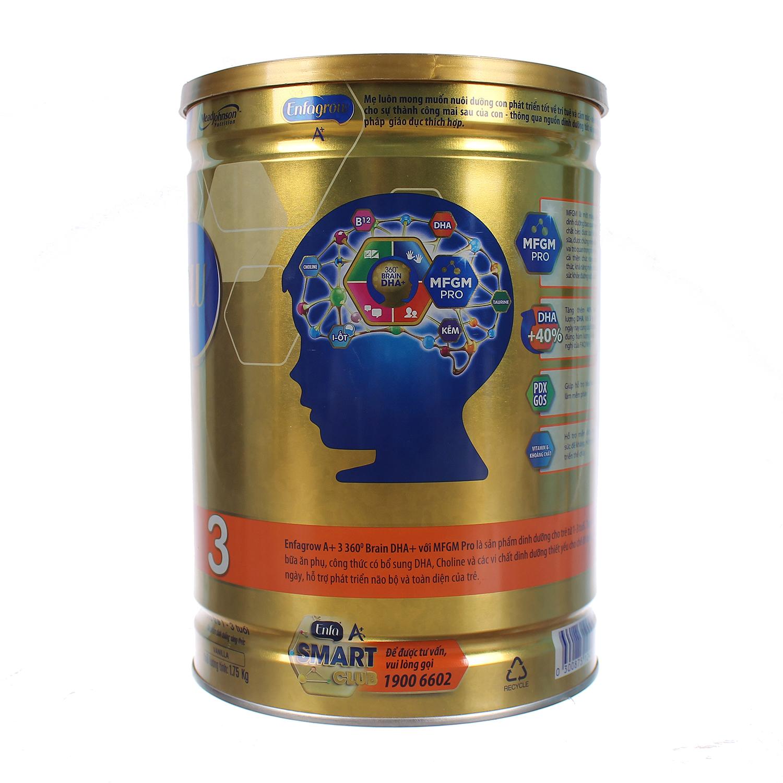Thành phần sữa Enfagrow A+ 3 360° Brain DHA+ với MFGM PRO 1750g Vị Vani (1 - 3 tuổi)