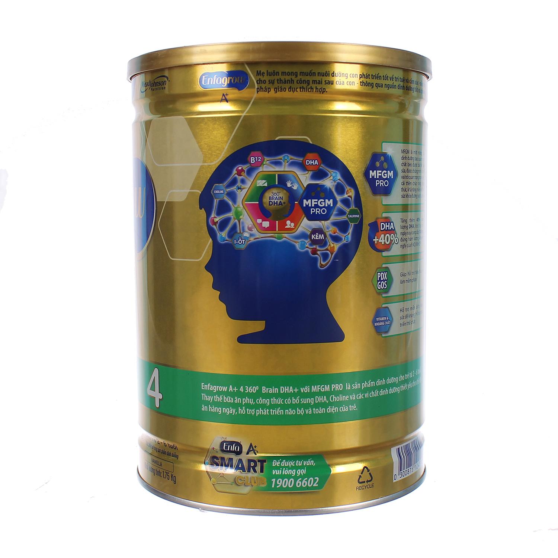 Sữa Enfagrow A+ 4 360° Brain DHA+ với MFGM PRO 1750g Vị Vani (2 - 6 tuổi)