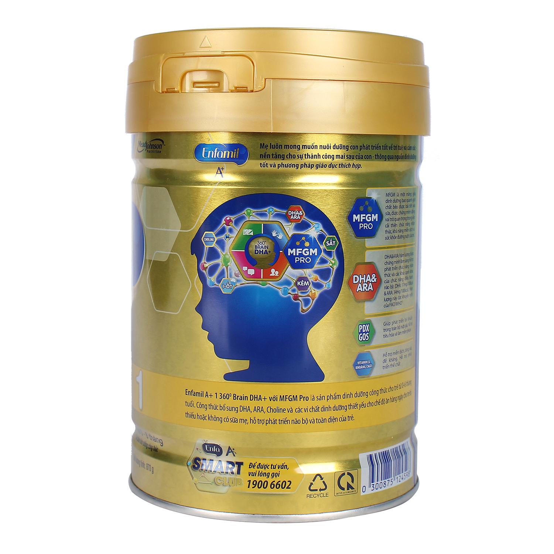 Sữa Enfamil A+ 1 360° Brain DHA+ với MFGM PRO 870g Vị Vani (0 - 6 tháng) tốt cho não bộ của trẻ