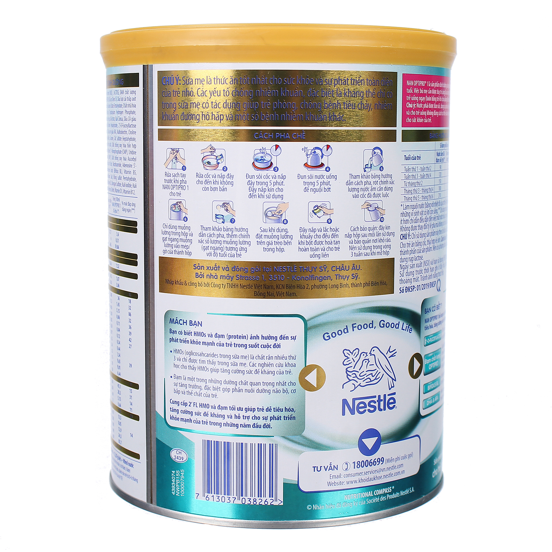 Các bước pha sữa Nan HMO Optipro 1 800g (0 - 6 tháng)