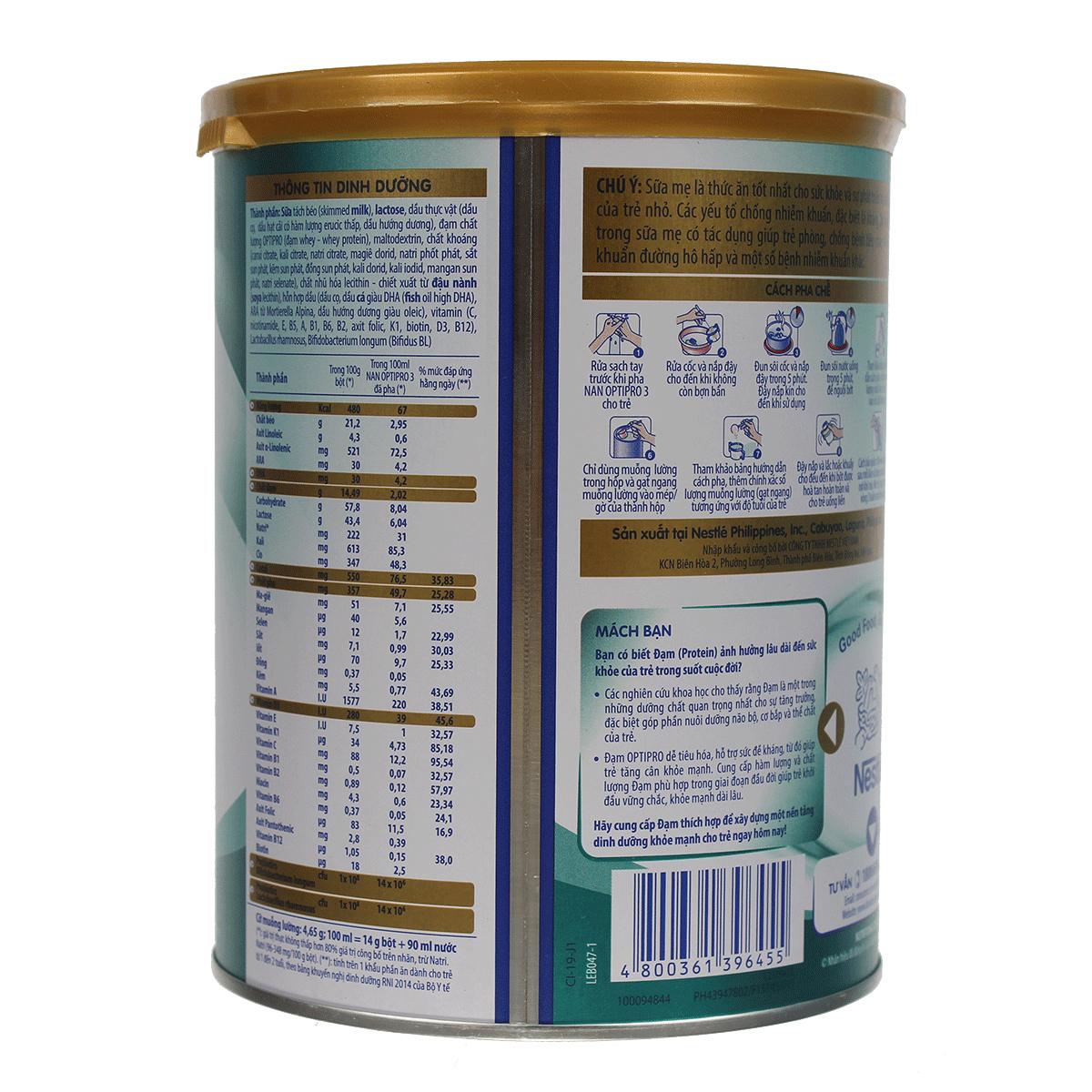 Thành phần Sữa Nestle NAN Optipro số 3