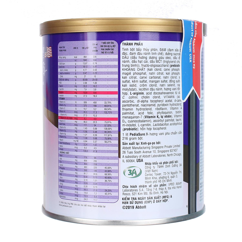 Thành phần dinh dưỡng sữa PediaSure 400g vị vani