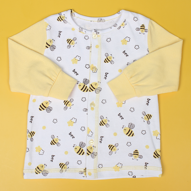 Bộ sơ sinh cài giữa hình chú ong in thân Mamago NĐ19 (Vàng)