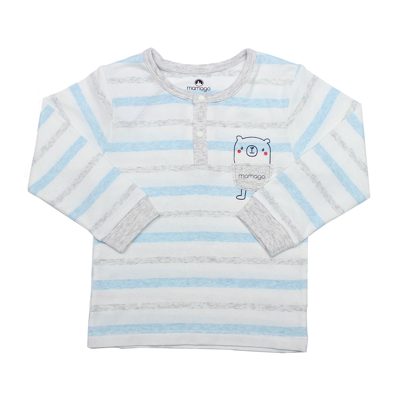 Bộ quần áo thời trang bé trai bo trụ Mamago HN19T kẻ xanh dương chất liệu an toàn